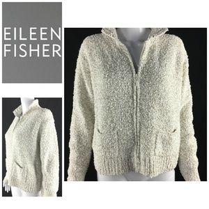 Eileen Fisher Sz M Sweater Ivory Chunky Knit Zip